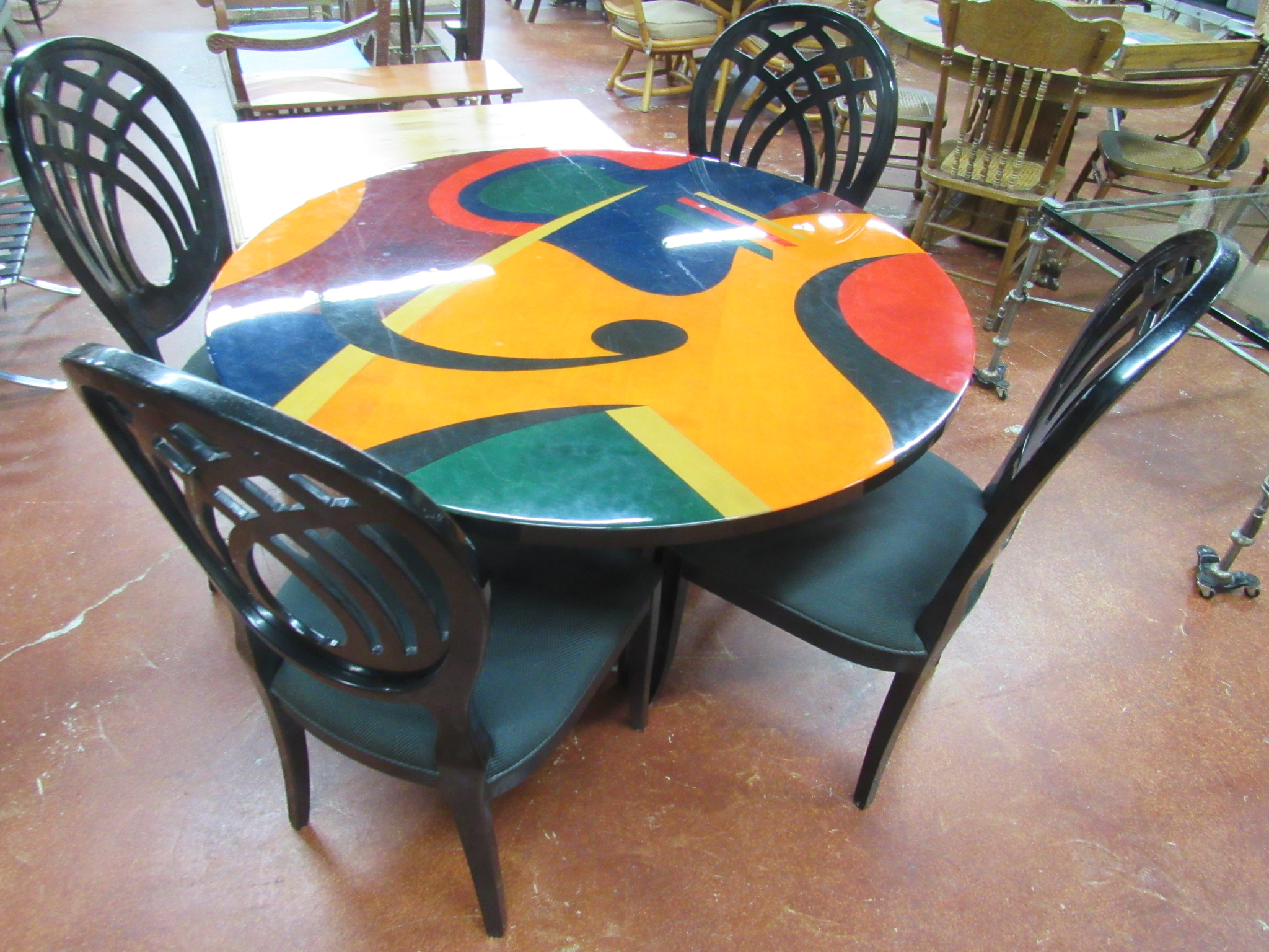 Modern Hand Painted Signed Table with 4